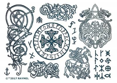 1xA4 Sheet of Viking 3 Style Temporary Tattoos