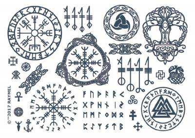 1xA4 Sheet of Viking Style Temporary Tattoos