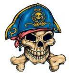 Pirate 1 Temporary Tattoos 40x40mm