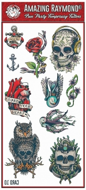 Childrens Kids Temporary Tattoos Roses Skulls Anchor