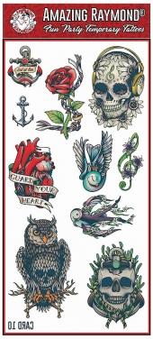 Childrens Kids Temporary Tattoos Roses Skulls Anchor