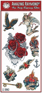 Childrens Temporary Tattoos Hearts Angel Roses