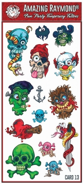 Childrens Temporary Tattoos  Skulls Bat Snake