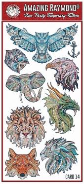 Childrens Temporary Tattoos  Coloured Animals