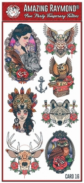 Childrens Temporary Tattoos Celtic Heart Bands spider owls wolf Tattoos