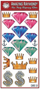 Childrens Temporary Tattoos Diamond and Money Crowns