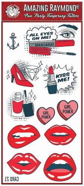 Childrens Temporary Tattoos Girl Power Lips Kiss me