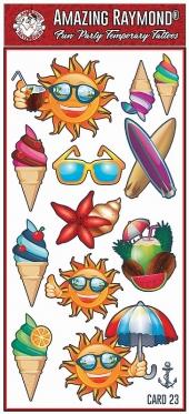 Childrens Temporary Holidays Ice Cream Fun Sun Skate Boards