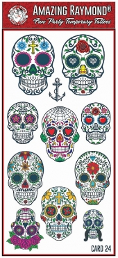 Chrildrens Tattoos Sugar Skulls Day of the Dead Masks