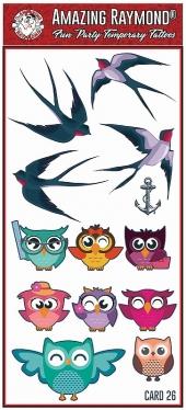 Childrens Temporary Tattoos Birds and Owls Tattoos
