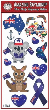 children kids Australia Flag Aussie Temporary Tattoos Koala Kangaroo