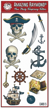 Pirate Skull Knife Sword Anchor temporary tattoos