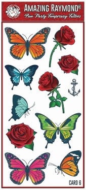 childrens kids temporary tattoos Butterflies Roses