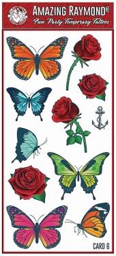 childrens kids temporary tattoos Butterflies Roses