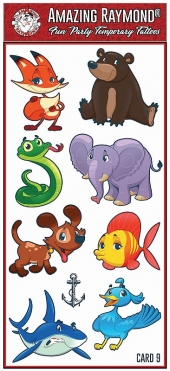 Childrens Temporary Tattoos snake elephant bear fish shark dog