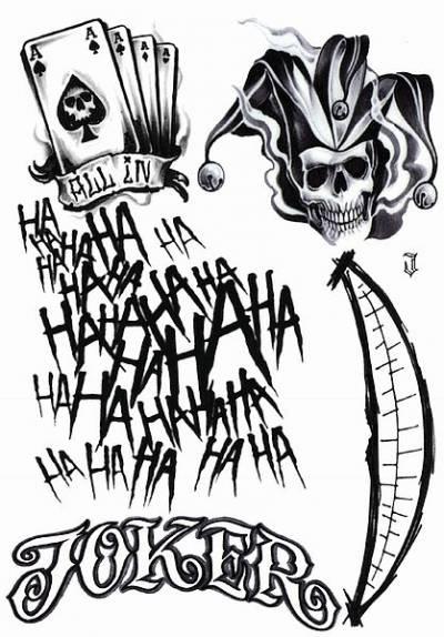 1xA4 Sheet Joker No 1 Insired Temporary Tattoos