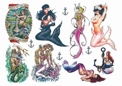 1xA4 Sheet A4 Mermaid 2 Temporary Tattoos