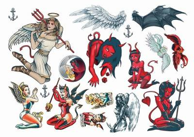 1xA4 Sheet Angels Devils Tattoos Mel