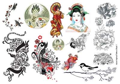 Asian Temporary Tattoos