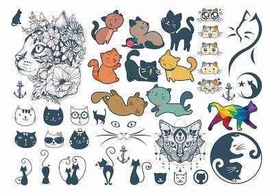 1xA4 Sheet Cats Temporary Tattoos