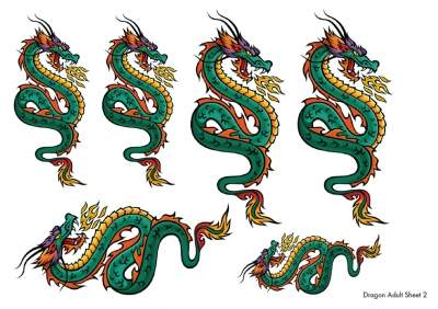 Dragon Temporary Tattoos Sheet 2