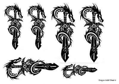 Dragon Temporary Tattoos Sheet 6