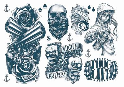 1xA4 Sheet Gangsta Boy 1 Temporary Tattoos