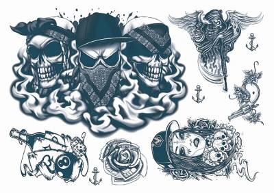 1xA4 Sheet Gangsta Boy 4 Temporary Tattoos