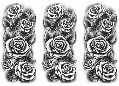 1xA4 Sheet Half Sleeve Black Roses Tattoos