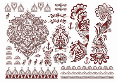 1xA4 Sheet Henna Brown Mel 2 Temporary Tattoos