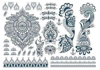 1xA4 Sheet Henna Mel1 Temporary Tattoos