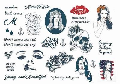 Celebrity Glamour Temporary Tattoos Sheet Tattoos