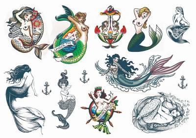 1xA4 Sheet Mermaid 1 Temporary Tattoos