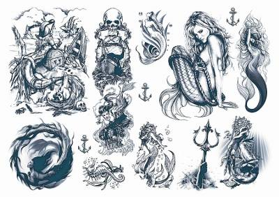 1xA4 Sheet Mermaid 3 Temporary Tattoos