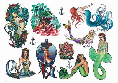 1xA4 Sheet Mermaid 5 Temporary Tattoos