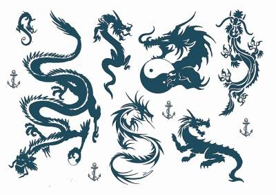 1xA4 Sheet Pink Inspired Dragons Temporary Tattoos