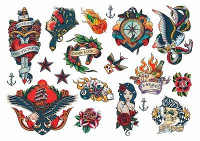 1xA4 Sheet Rockabilly Mel1 Temporary Tattoos