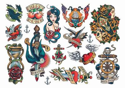 1xA4 Sheet Rockabilly Mel2 Temporary Tattoos