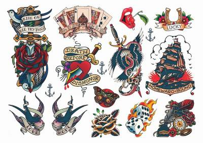 1xA4 Sheet Rockabilly Mel3 Temporary Tattoos