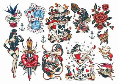 1xA4 Sheet Rockabilly Mel4 Temporary Tattoos