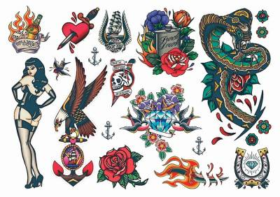 1xA4 Sheet Rockabilly Mel5 Temporary Tattoos