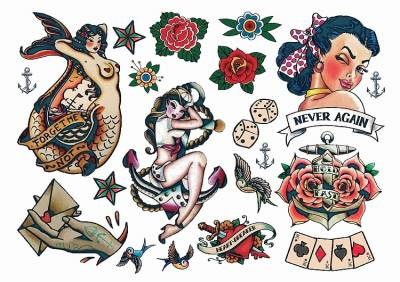 1xA4 Sheet Rockabilly Never Again 1 Temporary Tattoos