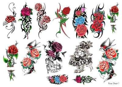 Temporary Tattoo Roses Sheet 1