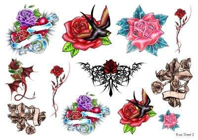 Temporary Tattoo Roses Sheet 2