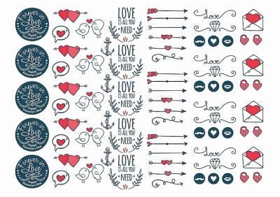 1xA4 Sheet Valentines Day 1 Temporary Tattoos