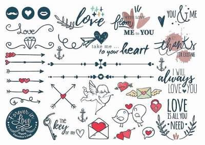 1xA4 Sheet Valentines Day 2 Temporary Tattoos