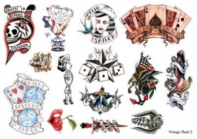 1xA4 Sheet Vinatge Temporary Tattoos Sheet 3