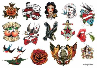 Vintage Temporary Tattoos Sheet 1