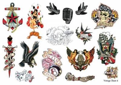 1xA4 Sheet Vintage Temporary Tattoos Sheet 4