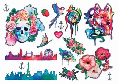 1xA4 Sheet Water Colour 2 Tattoos